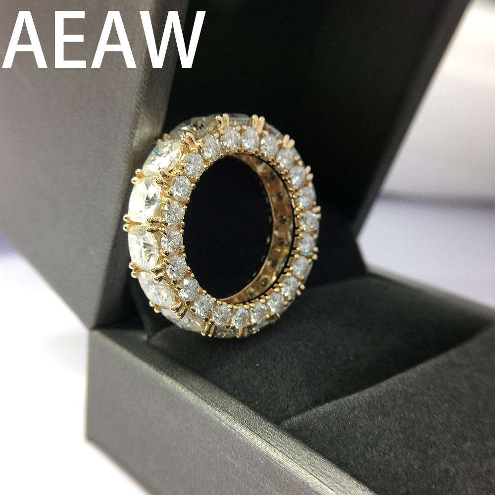 Solid 14K Yellow Gold DF Cushion Round 10.5ctw Moissanite Engagement Ring Full Diaond Band For Women