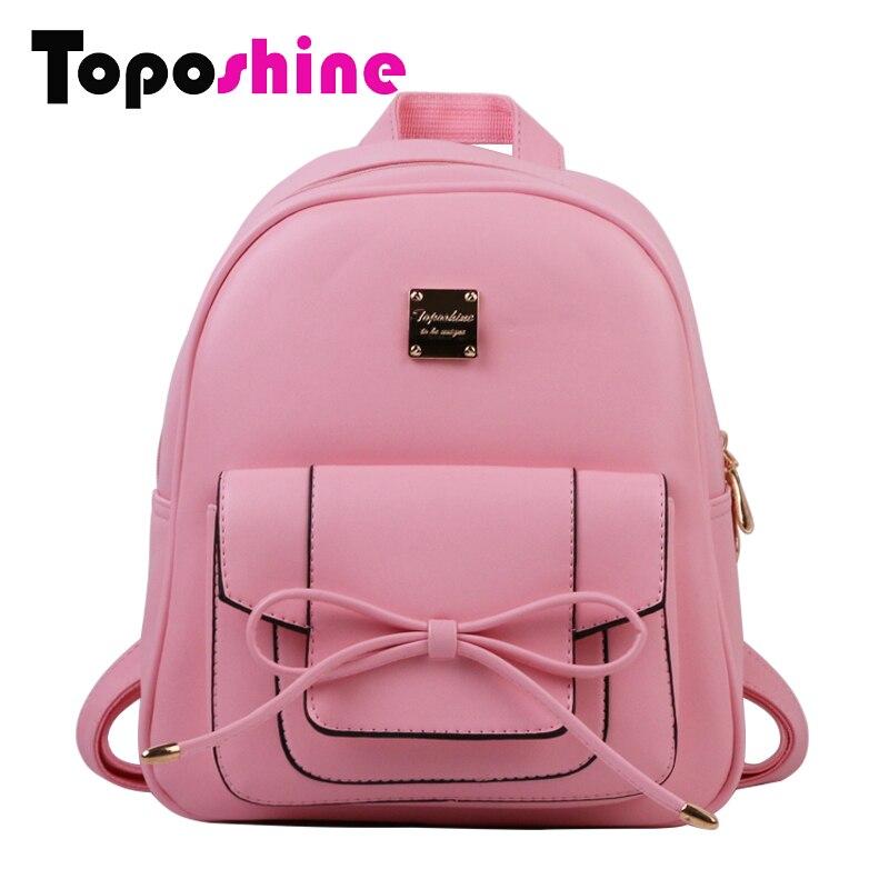 Toposhine 2017 August New Fashion Women Backpack Medium Solid Girls Schoon Bag Bow Cute Women Bags