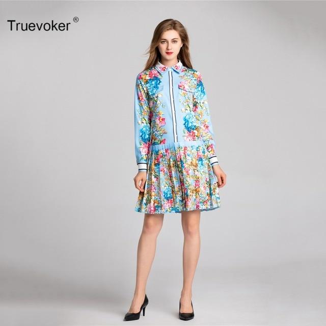 Truevoker Spring Designer Robe Femme Ete Women s High End Long Sleeve  Colorful Floral Printed Pleated Vestido Casual Dress 8c4798c2ebde