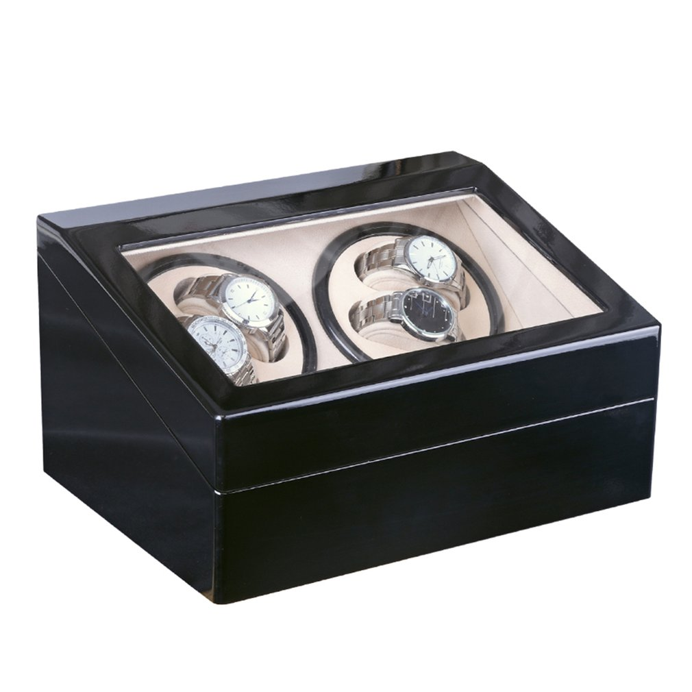 Automatic Mechanical Watch Winders Storage Box Case Holder 4+6 Collection Watch Display Jewelry Winder Box Black Black