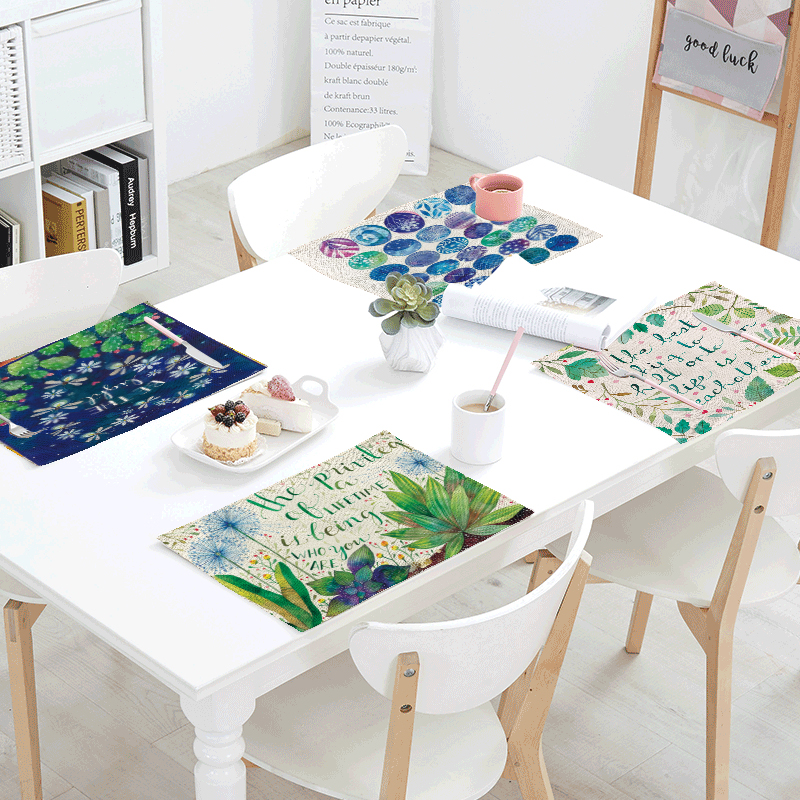 New Variety Simple Print Dandelion Cactus Leaf Lettering Cover Napkin Pad Tea Coffee Table Decor Western Pad 42x32cm Table flag