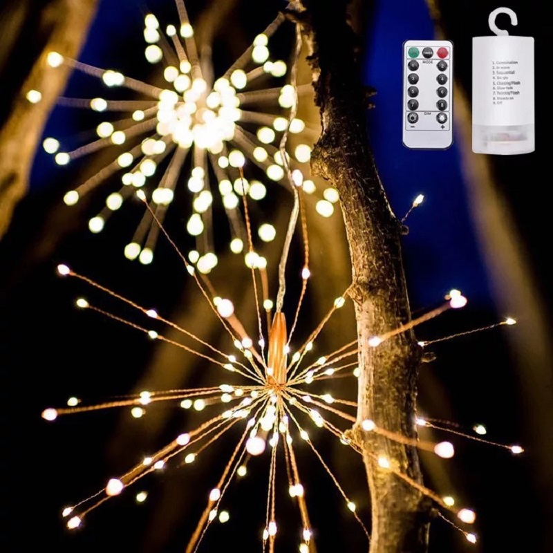 Remote Control Hanging Starburst String Lights 120-200Leds Copper Firework Christmas Lights Outdoor Fairy Garland Party Decor