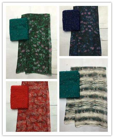 5+2yards Digital printed pure silk chiffon fabric soft transparent tulle fabric thin beach dress pure silk fabric FWD03