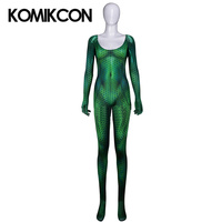 Mera Cosplay Costume 3D Digital Print Bodysuit Superhero Queen Green Aqua mens Costume For Women Halloween Party Jumpsuits