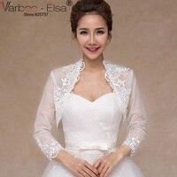 VARBOO_ELSA 2018 Summer Wedding Ren Appliques Bọc Bolero Cưới Bạch Khăn Choàng Dài Tay Bridal Mỏng Coat Vận Chuyển Miễn Phí