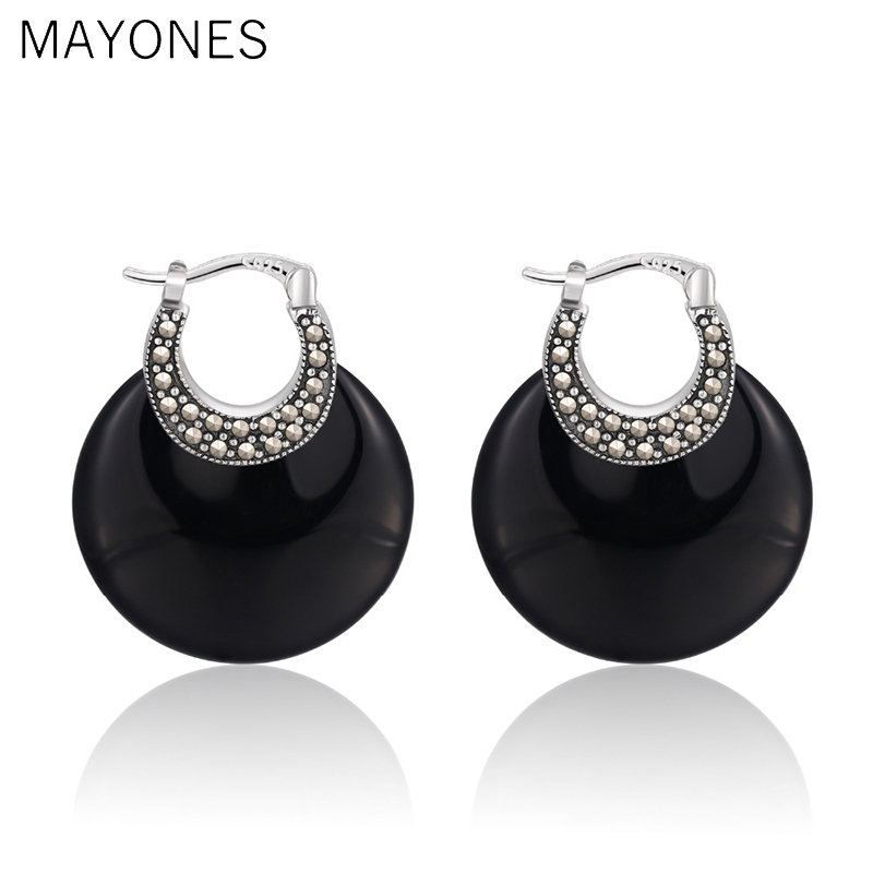 MAYONES Bohemia Natural Agate/White Chalcedony Earrings with Zircon Real 925 Sterling Silver Earring for Women Jewelry