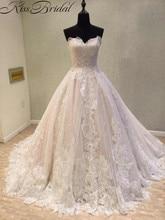 Gaun Pengantin Terbaru 2018 Vintage Lace Bride Dresses Korset Kembali Appliques Bunga Panjang Kereta Sayang Bridal Gown