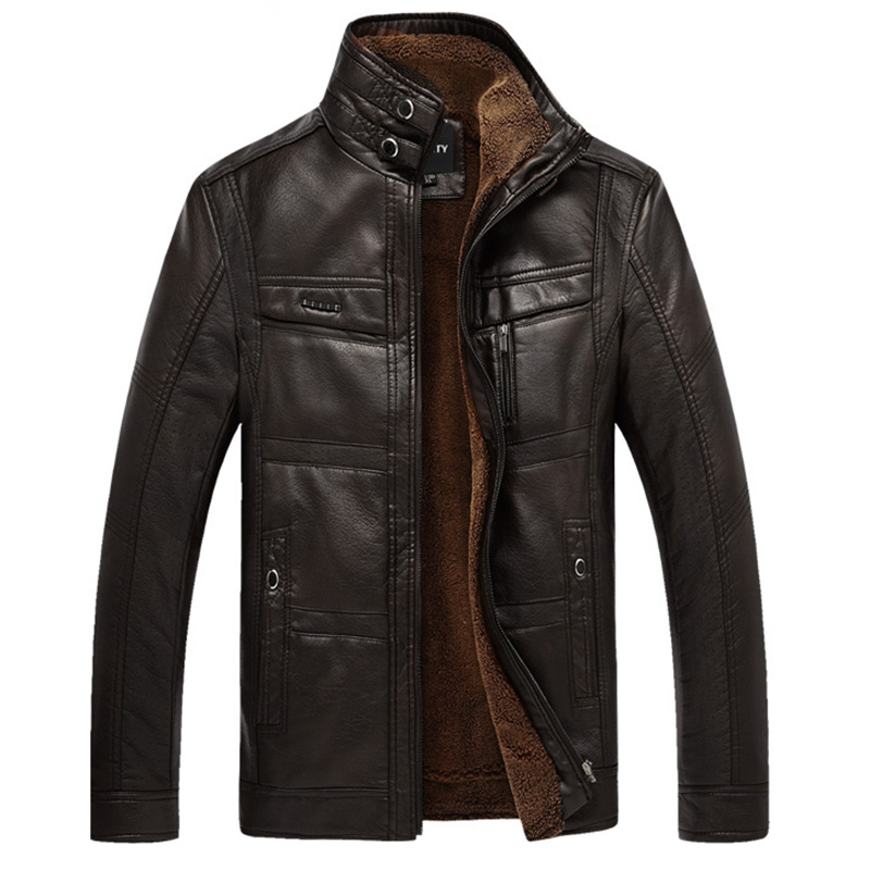 XingDeng PU High Leather Jacket Coats plus 5XL Outerwear Men Business Winter Faux Fur