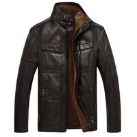 XingDeng PU Brand High Leather Jacket Men Coats plus 5XL Quality Outerwear Men Business Winter Faux Fur Male top clothes Fleece