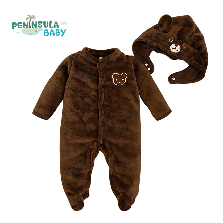Newborn Clothes Bear Baby Girl Boy Rompers With Hat Plush Jumpsuit Winter Overalls Outfit Cartoon Warm Infant Clothing 0-24M