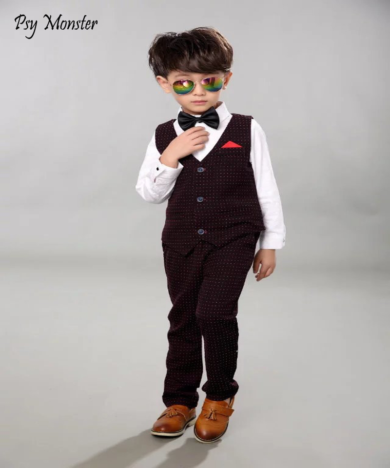 Baby Boys Birthday Dress Brand Formal Suit Gentleman Boy Suits Children Boys Blazer Sets Wedding Party