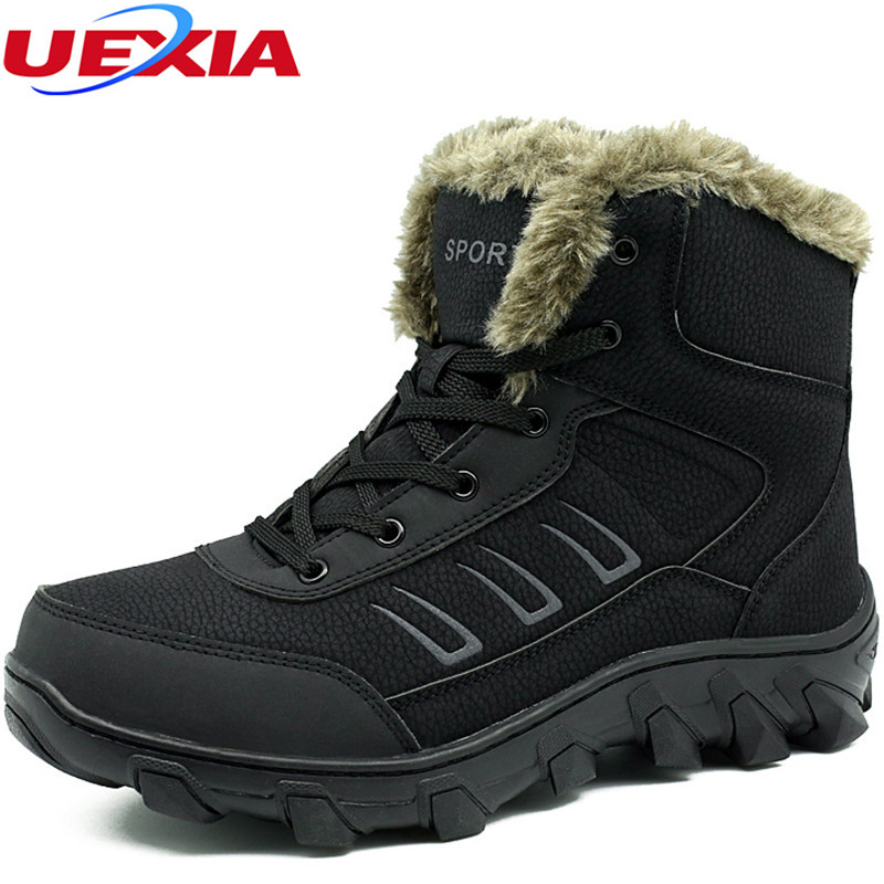 Handmade Ankel Boots Men New Warm Fur&Plush Big Size 39-48 Snow Boots Male Non-slip Winter Shoes Men's Quality Casual Shoes Mens new casual mens cheap winter shoes keep warm with fur outdoor male snow shoes plush boots fashion men s suede leather sneakers