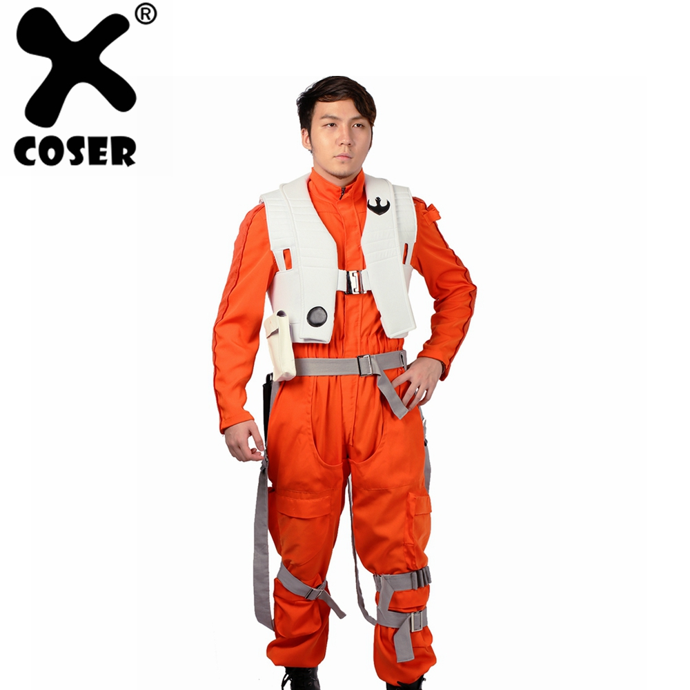 XCOSER Poe Dameron Jumpsuit Star Wars VII:The Force Awakens Poe Dameron Cosplay Costume Halloween Costume For Men Adult