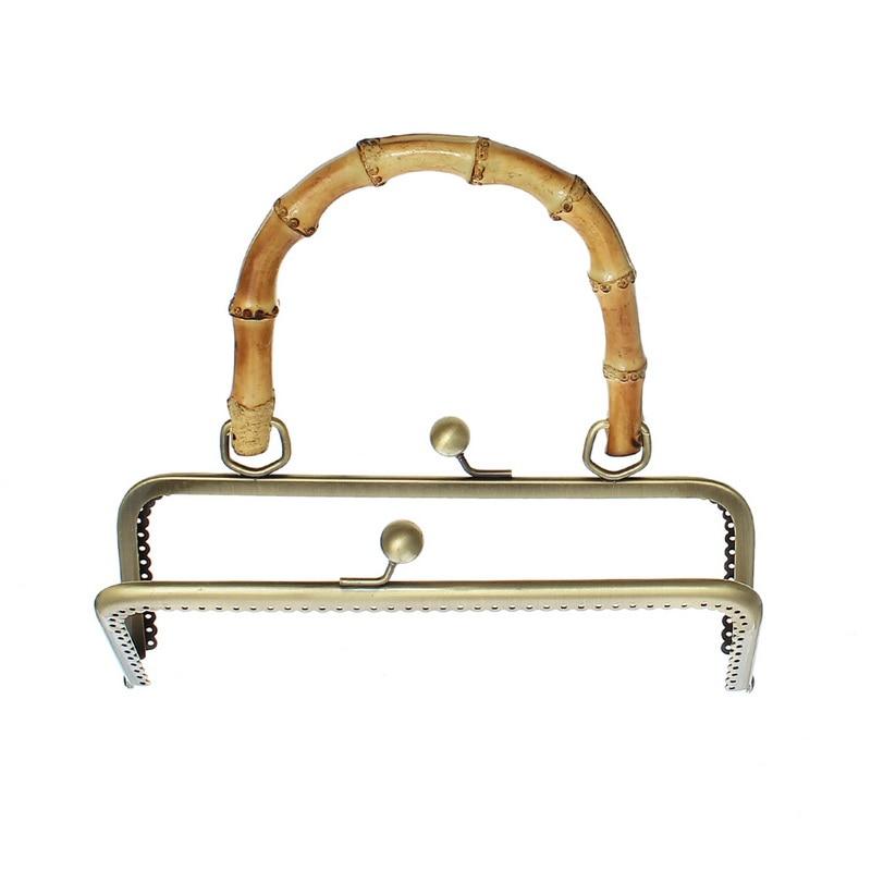 30Pcs Bronze Tone Metal Rectangle Frame Kiss Clasps Lock Purse Bag Handbag Bamboo Wood Handle 20x18.5cm