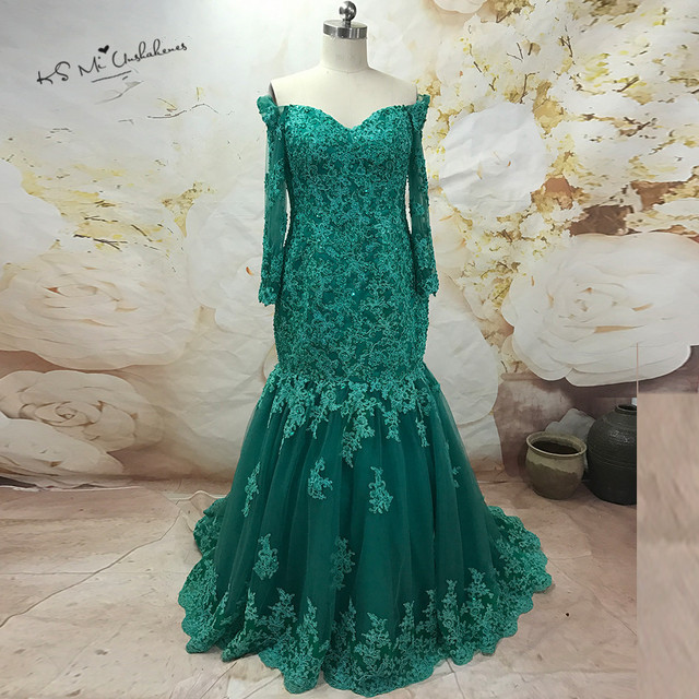 Green Lace Evening Dress Modest Prom Dresses Mermaid Long Sleeve ...