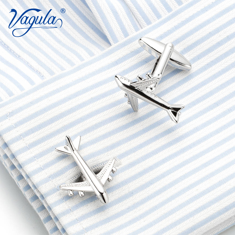 VAGULA Classic Silver-color Plated Plane Copper Men's Cufflink Luxury Gift Party Wedding Funny Cufflinks 698