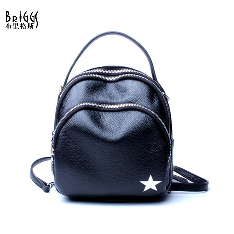 BRIGGS Famous Brand Women Backpack Soft Genuine Leather Backpacks School Bag High Quality Leather Travel Bag For Teenage girl briggs famous brand women backpack soft genuine leather backpacks school bag high quality leather travel bag for teenage girl