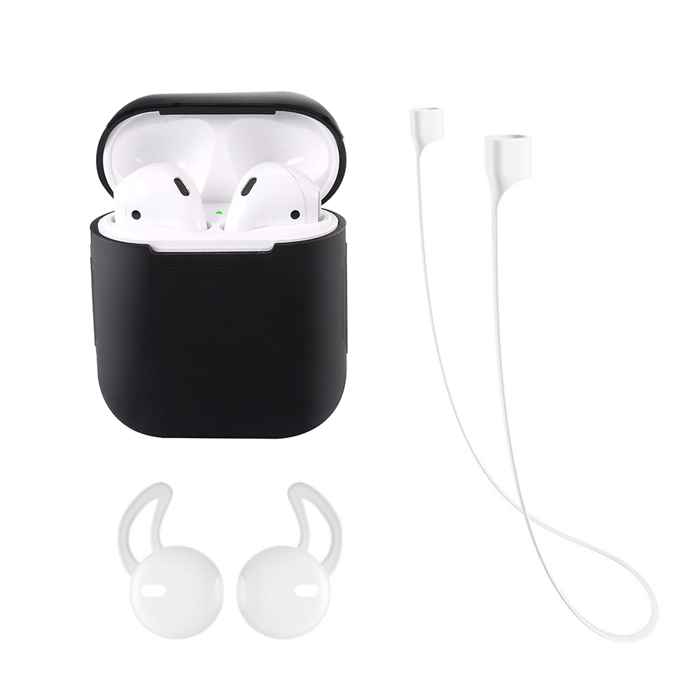 Silicone Case for Apple Airpods Air Pods Shock Proof Protective Cover with Anti-lost Strap & Ear Cover Hooks Accessories , Black