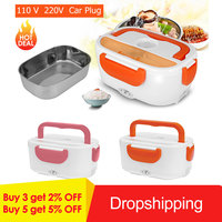 Lunch Box Food Container Portable Electric Heating Food Warmer Heater Rice Container Dinnerware Sets Container for Home Office Lunch Boxes     -