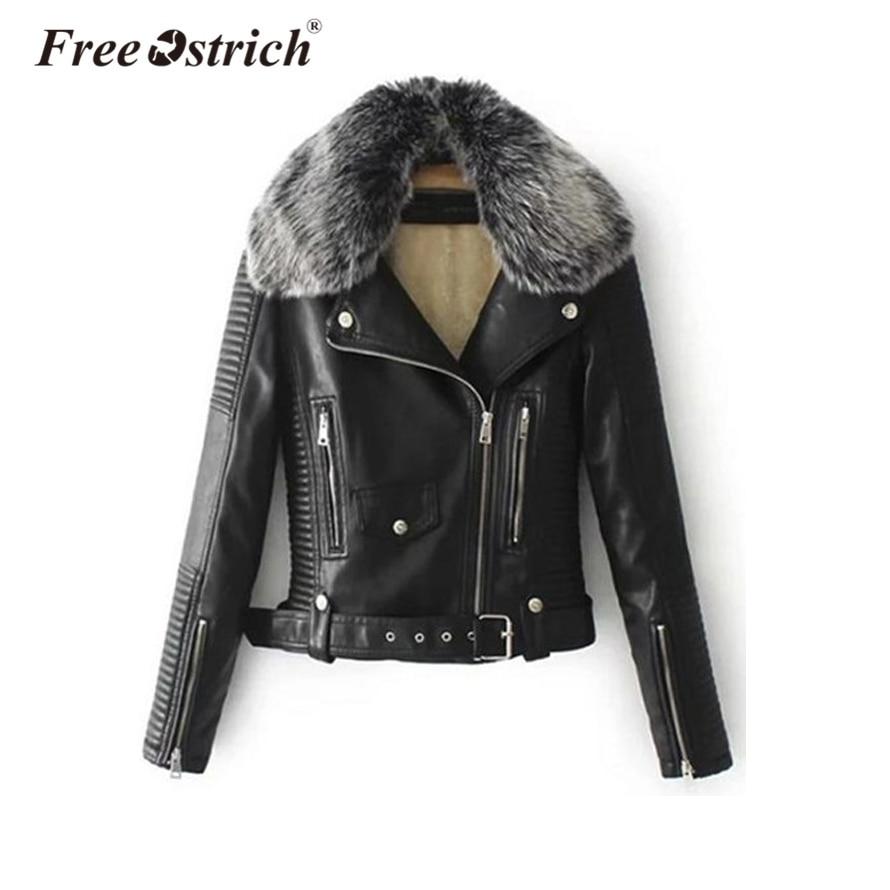 Free Ostrich PU leather   jacket   2018 fur collar   basic     jacket   coat outerwear coats Streetwear faux leather coat female women S25