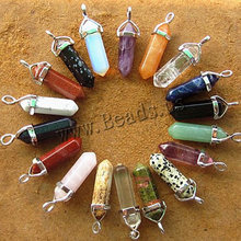 Women's Natural Stone Pendants Necklace Pink Crystal Necklaces Quartz Gem Stone Statement Pendant Necklace Collares(China)