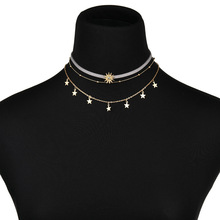 1 PC Fashion stars moon multi-layer necklace three-layer clavicle chain personality female jewelry