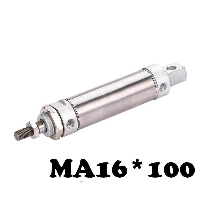 MA 16*100 de aço Inoxidável mini cilindro de Dupla Ação Pneumática Componente MA Aço Inoxidável 16*100 Cilindro De Ar