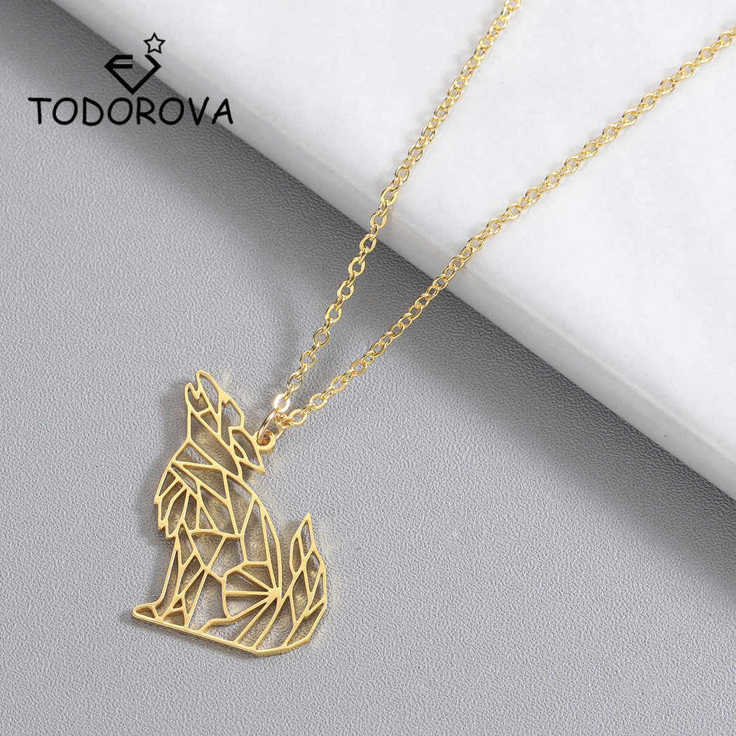 Todorova Origami Wolf Animal Pendant Necklace for Women Men Stainless Steel Jewelry Howling Wolf Necklace
