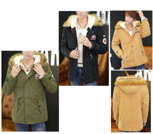 ФОТО Men Fashion Warm Trench Coat Fur Collar Hooded Parka Thick Padded Jacket Outcoat Long sleeve