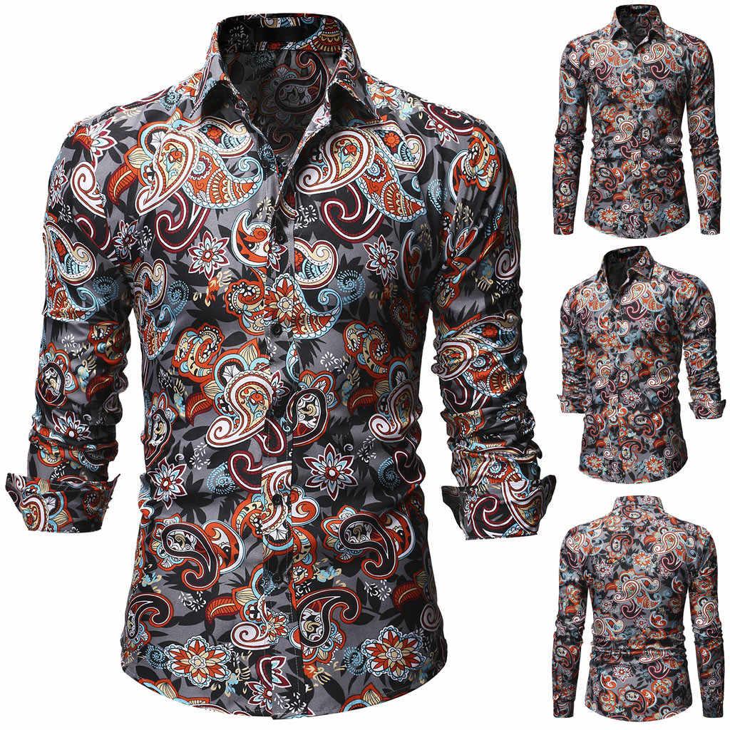 2019 модная мужская Повседневная рубашка с цветочным принтом красивая длинным
