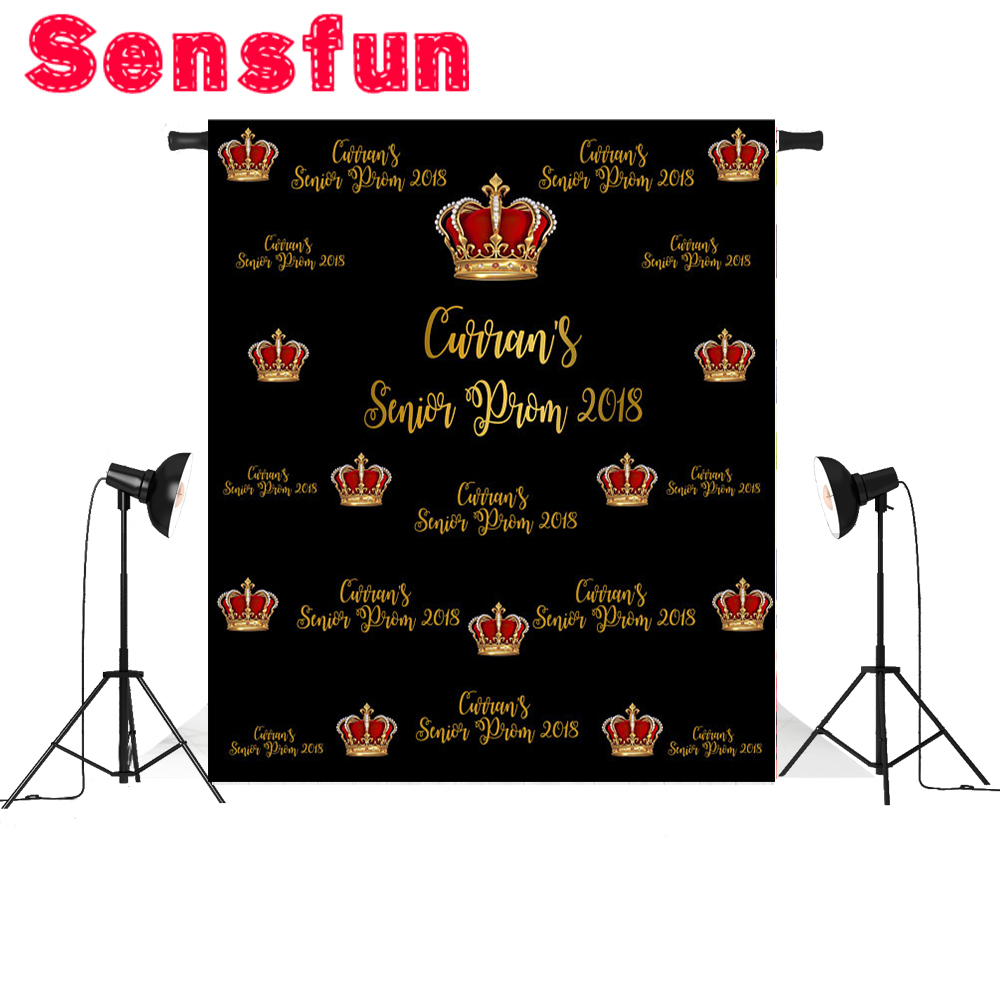 Gold Crown Step And Repeat Backdrop Prom Party Background Photography Backdrops For Photo Studio 5x7ft