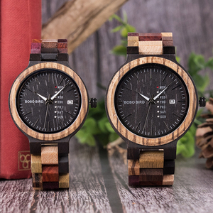Image 2 - BOBO BIRD Antique Mens Wood Watches Date and Week Display Business Watch with Unique Mixed Color Wooden Band anniversary gift