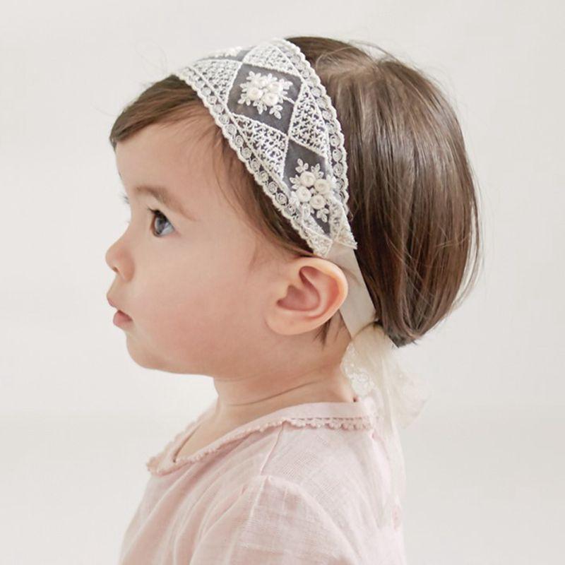 Детская повязка на голову, кружевная лента для волос для девочек, принцесса, аксессуары для волос Детские Тюрбан с цветочным рисунком, повяз...