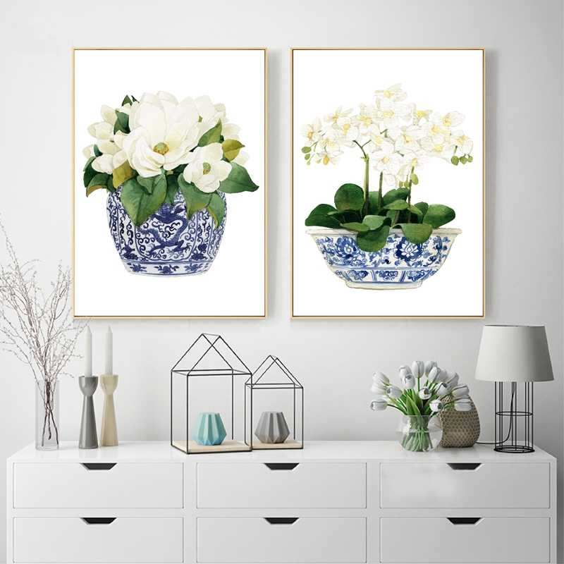 White Orchid & Magnolia Watercolor Chinoiserie Decor Canvas Print Oriental Vase Blue White Willow Style Porcelain Flower Jar