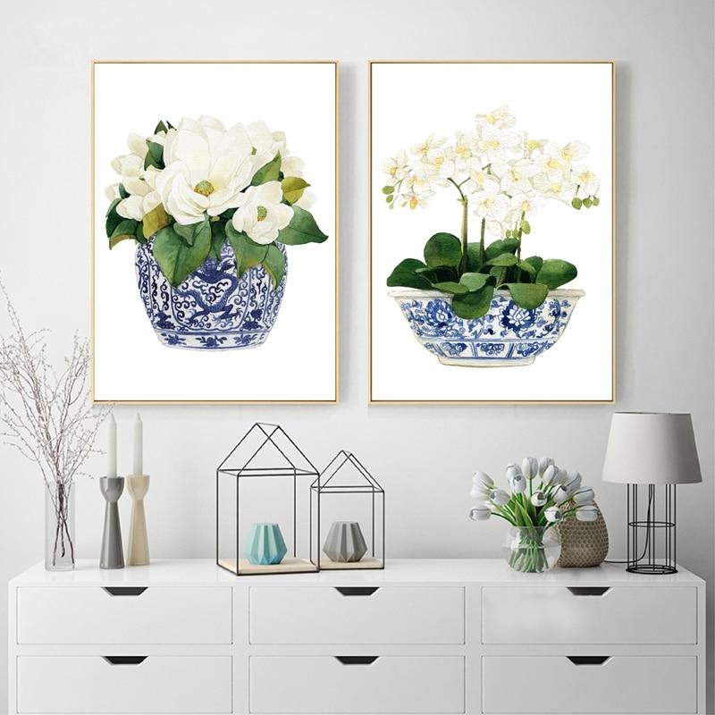White Orchid & Magnolia Watercolor Chinoiserie Decor Canvas Print Oriental Vase Blue White Willow Style Porcelain Flower Jar