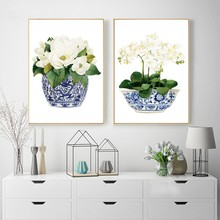White Orchid & Magnolia Watercolor Chinoiserie Decor Canvas Print Oriental Vase Blue White Willow Style Porcelain Flower Jar(China)