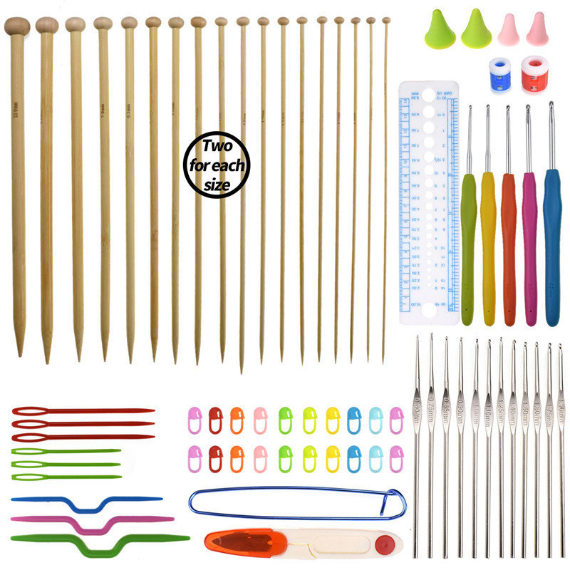 Big Capacity Crochet Hooks Set Pratical 36pcs Bamboo Straight Knitting Needles DIY Tools Sewing Accessories Set With Storage Bag in Sewing Needles from Home Garden