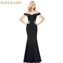 Kate Kasin Drop Shoulder Sequin Evening Dresses 2017 Sheer Prom Gowns Long Black Mermaid Evening Dress Robe de Soiree Longue