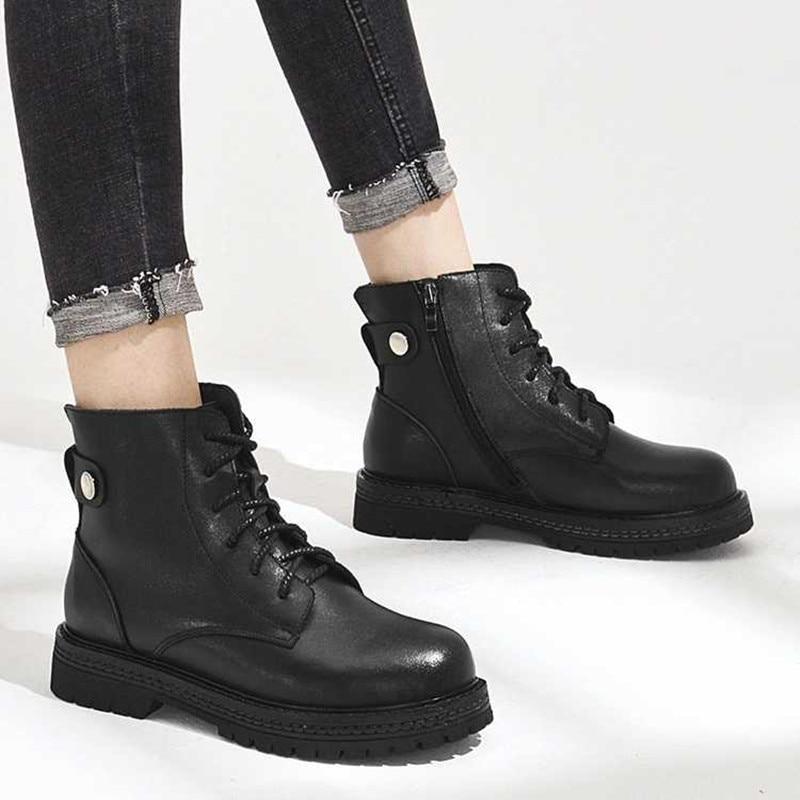 Ayakk.'ten Ayak Bileği Çizmeler'de AIYUQI Martin çizmeler kadın 2019 yeni hakiki deri yarım çizmeler kadın inek deri kadın kısa çizmeler ayakkabı'da  Grup 3