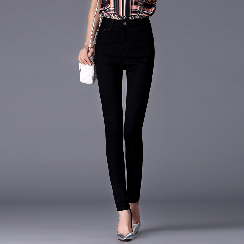 Jeans for women jeans with high waist trousers tight black zipper female skinny pencil pants 9769