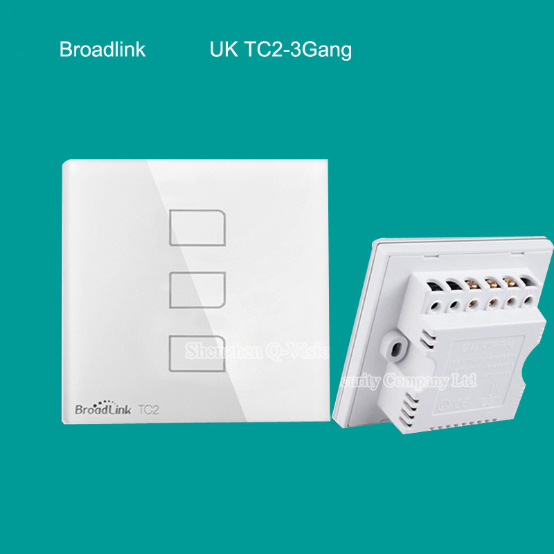 Broadlink TC2 UK 3gang Smart Home Phone Remote Wall touch Switch,RF433 control lamp light,Luxury white Crystal Glass AC110V-240V