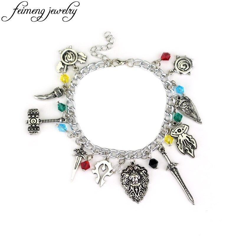 Popular Online Game Dota 2 Charm Bracelets Handmade Geek Nerd Crystal Beads Pendant Bracelets For Women Fashion Bangles Jewelry