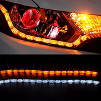 2pcs 50cm 69cm Day Running And Turn Signal All In One Car LED White Amber DRL