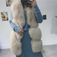 2019 New High-Grade Import Real Fox Fur Waistcoat Whole Slim Long Vest Coat Women Luxury Sleeveless Jacket S M L XL
