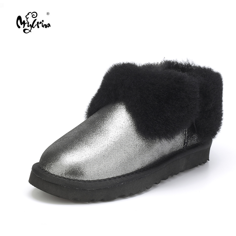 Top Quality New Fashion Genuine Sheepskin Leather Snow Boots 100% Natural Fur Botas Mujer Warm Wool Winter Shoes For Women top quality 2018 new fashion 100% genuine sheepskin leather snow boots natural fur mujer botas warm wool non slip winter shoes