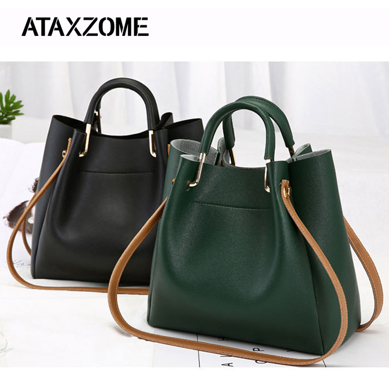 купить PU Leather Bags For Women 2018 Large Capacity Bucket Handbags Fashion Shoulder Tote Crossbody bags for Female bolsa feminin GG онлайн