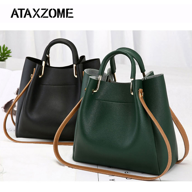 f03cfcf8b722 PU Leather Bags For Women 2018 Large Capacity Bucket Handbags Fashion Shoulder  Tote Crossbody bags for