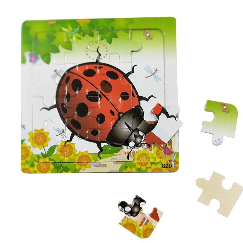 UainCube 16 шт./компл. деревянные пазлы Игрушки животных для детей обучения и образовательные композитный иллюстрации и пирсингом