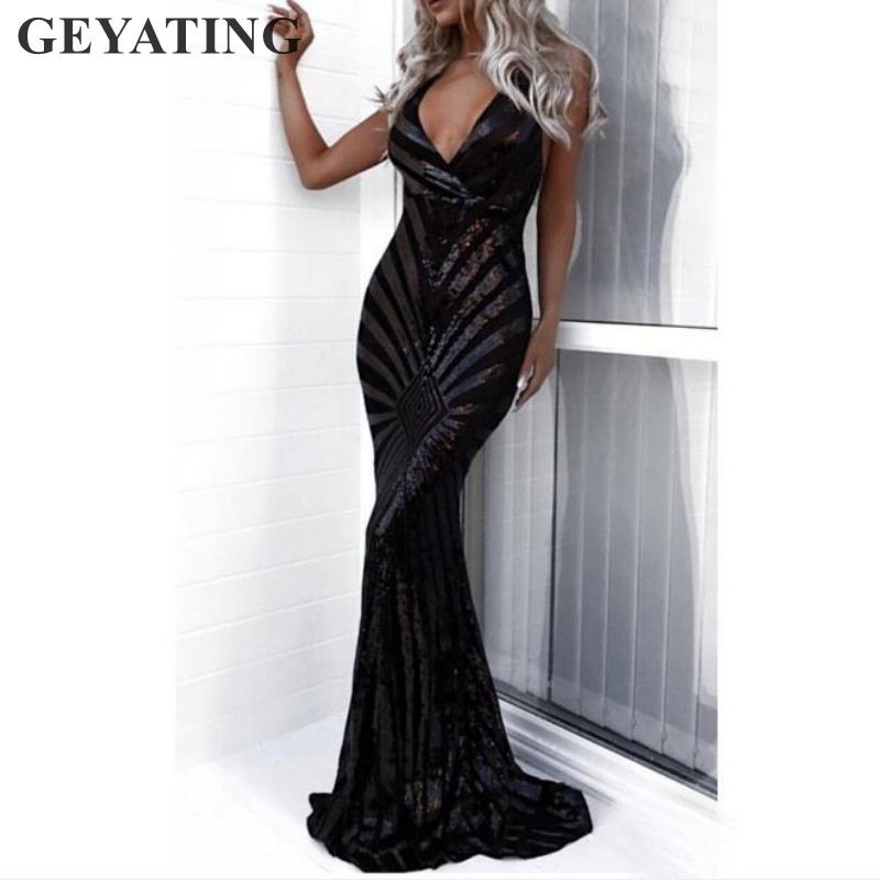 Image 5 - Sexy Rose Gold Sequin Backless Prom Dresses Mermaid 2019 Long Spaghetti Straps Black Maxi Women Formal Evening Party Dress Cheap-in Prom Dresses from Weddings & Events