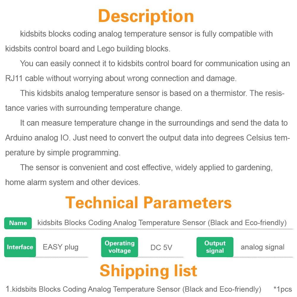 Image 5 - Kidsbits блоки кодирования аналоговый датчик температуры модуль для Arduino пара EDU (черный и экологически чистый)-in Доски для показов from Компьютер и офис on AliExpress - 11.11_Double 11_Singles' Day